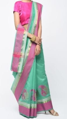 Teal Green & Pink Banarasi Ikkat Saree With Kairi Border-yespoho