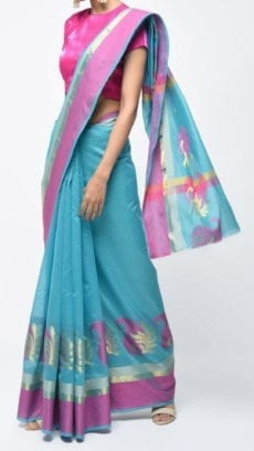 Sky Blue & Pink Banarasi Ikkat Saree With Kairi Border-yespoho