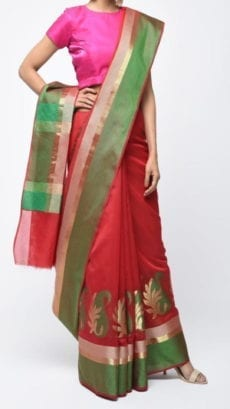 Dark Red & Green Banarasi Ikkat Saree With Kairi Border-yespoho