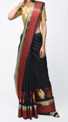 Black & Maroon Banarasi Ikkat Saree With Kairi Border-yespoho
