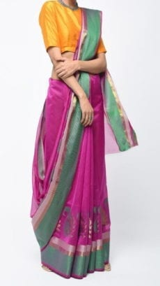 Magenta & Green Banarasi Ikkat Saree With Kairi Border-yespoho