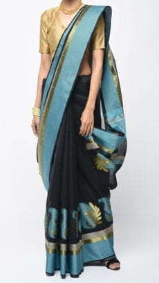 Black & Sky Blue Banarasi Ikkat Saree With Kairi Border-yespoho