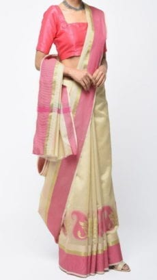 Cream & Baby Pink Banarasi Ikkat Saree With Kairi Border-yespoho