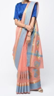 Peach & Grey Banarasi Ikkat Saree With Kairi Border-yespoho