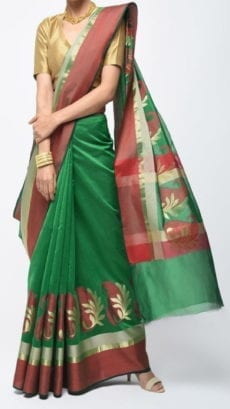 Dark Green & Red Banarasi Ikkat Saree With Kairi Border-yespoho
