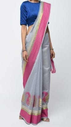 Grey & Pink Banarasi Ikkat Saree With Kairi Border-yespoho