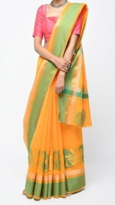 Mustard Yellow & Green Banarasi Ikkat Saree With Kairi Border-yespoho