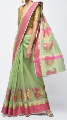 Pista Green & Pink Banarasi Ikkat Saree With Kairi Border-yespoho