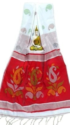 White & Dark Red Baha Handloom Jamdani Saree-yespoho