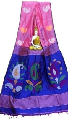Pink & Royal Blue Baha Handloom Jamdani Saree-yespoho