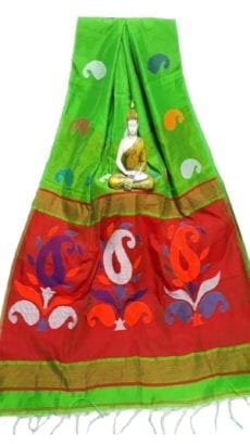 Parrot Green & Red Baha Handloom Jamdani Saree-yespoho