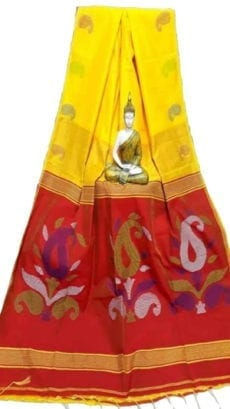Bright Yellow & Dark Red Baha Handloom Jamdani Saree-yespoho