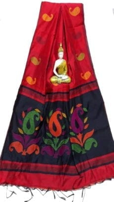 Dark Red & Black Baha Handloom Jamdani Saree-yespoho