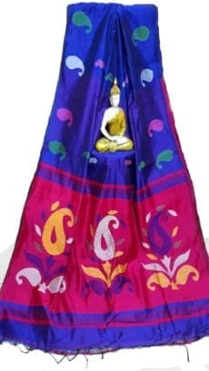 Royal Blue & Rani Baha Handloom Jamdani Saree-yespoho