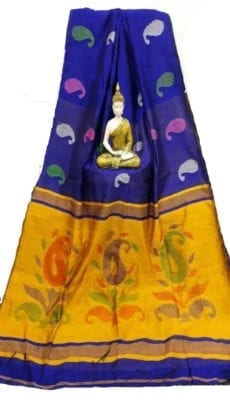 Royal Blue & Dark Yellow Baha Handloom Jamdani Saree-yespoho