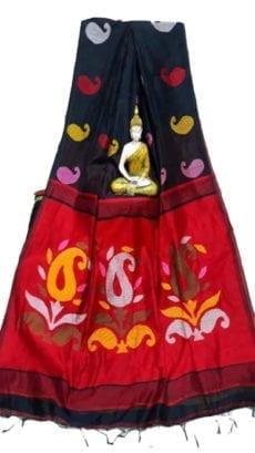 Black & Dark Red Baha Handloom Jamdani Saree-yespoho