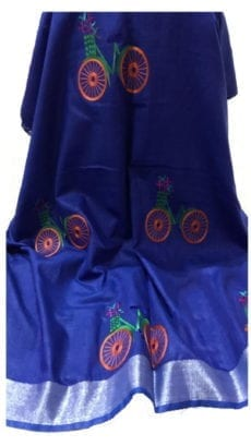 Dark Blue Cotton Salab Saree With Embrodiery-yespoho