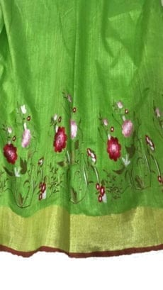 Bright Green Cotton Salab Saree With Embrodiery-yespoho
