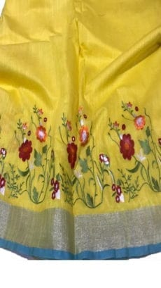 Bright Yellow Cotton Salab Saree With Embrodiery-yespoho