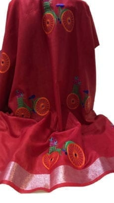 Dark Red Cotton Salab Saree With Embrodiery-yespoho