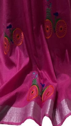 Dark Pink Cotton Salab Saree With Embrodiery-yespoho