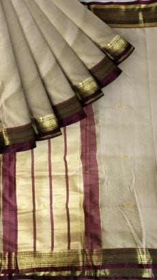Cream & Brown Soft Silk Paithani-yespoho