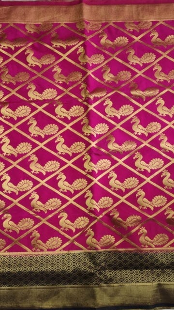 Yespoho Pink & Blue All Over Soft paithani