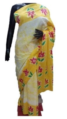Off White & Yellow Battick Print Cotton Saree-yespoho