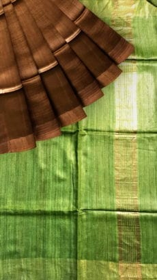 Parrot Green & Brown Tussar Ghicha Silk Saree-yespoho