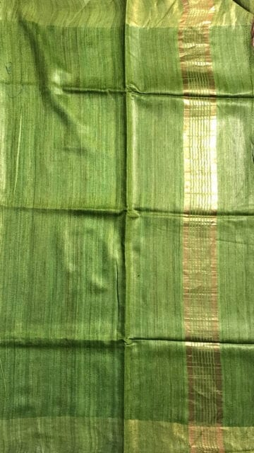 Brown Parrot Green & Brown Tussar Ghicha Silk Saree