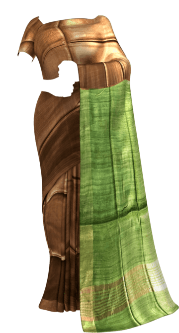 Parrot Green & Brown Tussar Ghicha Silk Saree Tussar Silk