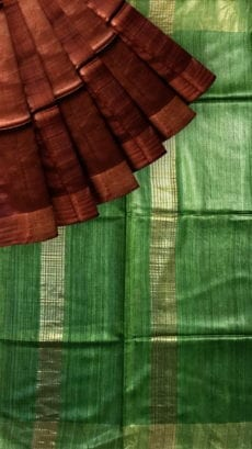Green & Dark Brown Tussar Ghicha Silk Saree-yespoho