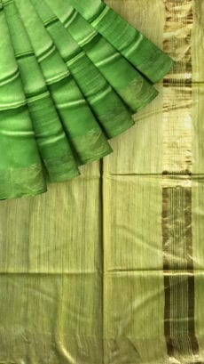Yellow & Parrot Green Tussar Ghicha Silk Saree-yespoho