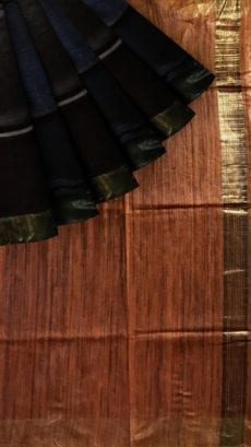 Golden Brown & Chocolate Tussar Ghicha Silk Saree-yespoho