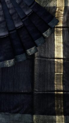 Black & Grey Tussar Ghicha Silk Saree-yespoho