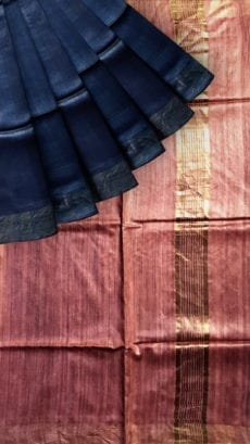 Peach & Blue Tussar Ghicha Silk Saree-yespoho