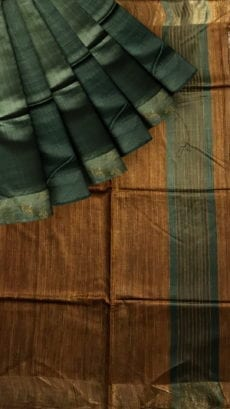 Brown & Bottle Green Tussar Ghicha Silk Saree-yespoho