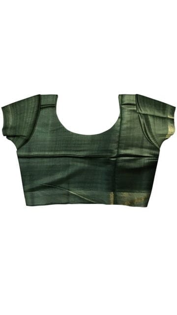Brown & Bottle Green Tussar Ghicha Silk Saree with Unstitched Blouse