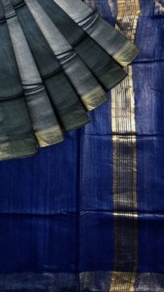 Royal Blue & Grey Tussar Ghicha Silk Saree-yespoho