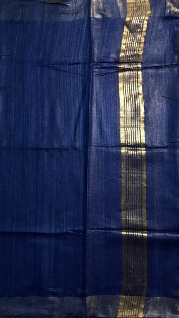 Aqua Grey Royal Blue & Grey Tussar Ghicha Silk Saree