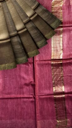 Pink & Brown Tussar Ghicha Silk Saree-yespoho