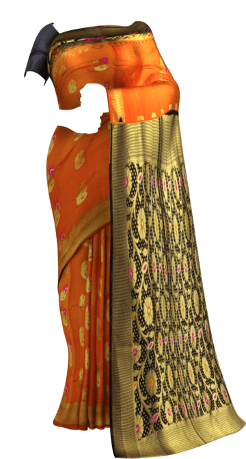 Orange & Black Soft Silk Saree Soft Silk Sarees Yespoho Sarees New Arrivals