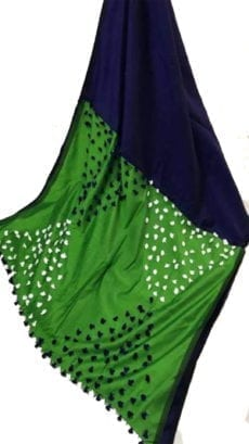 Navy Blue & Dark Green Pallu Pom-Pom Saree-yespoho