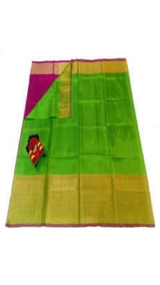 Green & Magenta Uppada Silk Saree With Contrast Pallu-yespoho