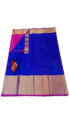 Dark Blue & Pink Uppada Silk Saree With Contrast Pallu-yespoho
