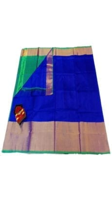 Dark Blue & Aqua Green Uppada Silk Saree With Contrast Pallu-yespoho