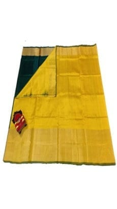 Mustard Yellow & Dark Green Uppada Silk Saree With Contrast Pallu-yespoho