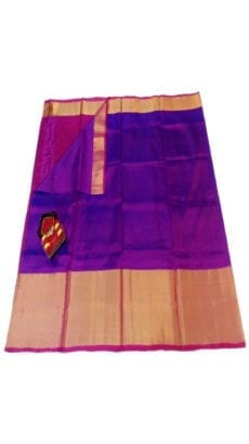 Purple & Magenta Uppada Silk Saree With Contrast Pallu-yespoho