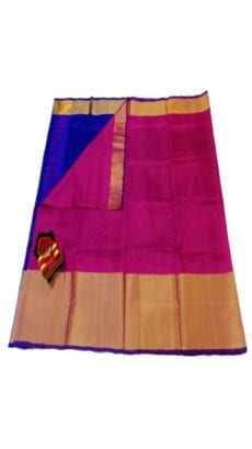 Dark Pink & Blue Uppada Silk Saree With Contrast Pallu-yespoho