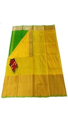 Dark Yellow & Parrot Green Uppada Silk Saree With Contrast Pallu-yespoho